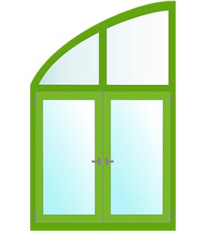 арочные окна с сектором круга